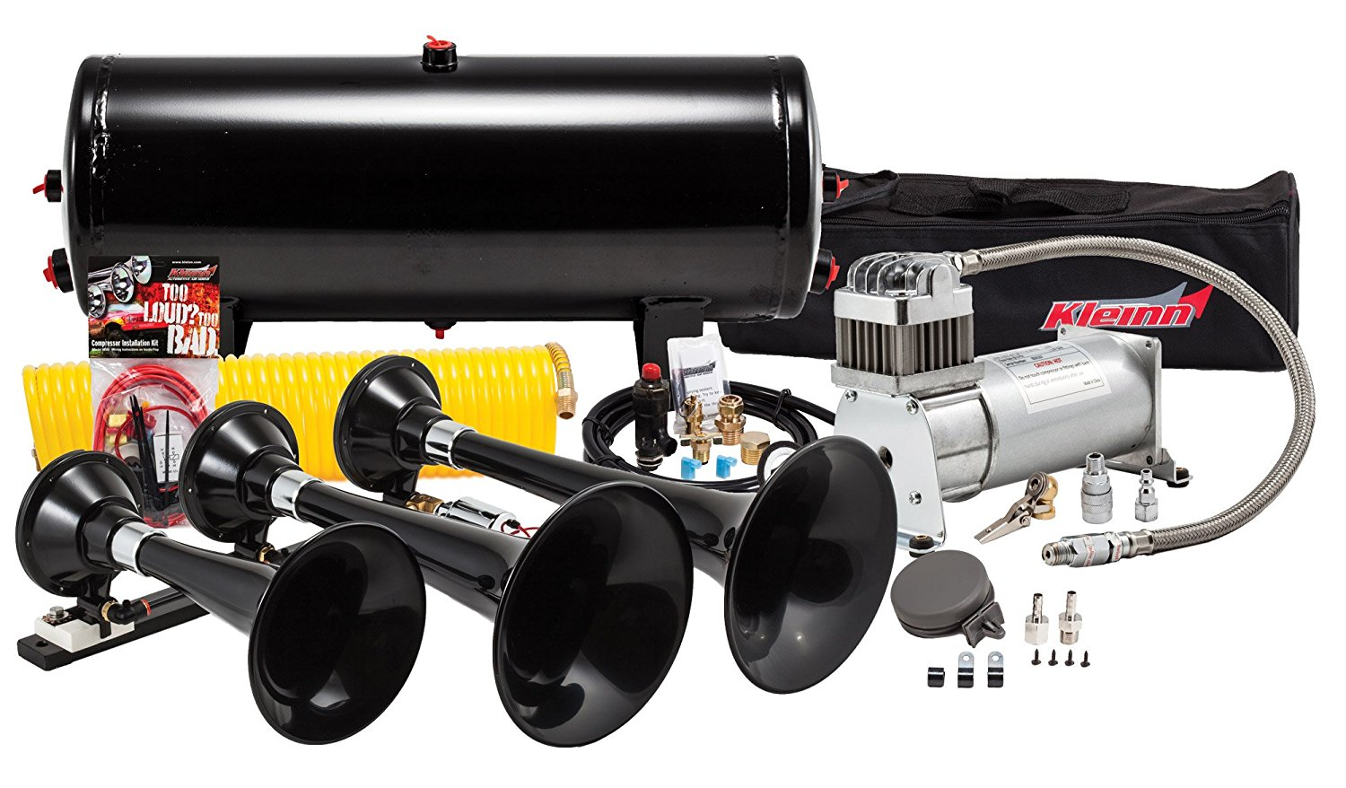 make your truck's bark match its bite with the kleinn hk7 train horn kit   when it's time to step up your sound game, there's only one air horn in the